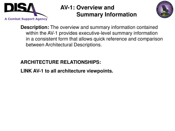 AV-1: Overview and