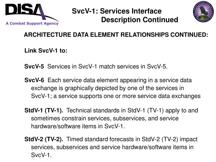 ARCHITECTURE DATA ELEMENT RELATIONSHIPS CONTINUED: