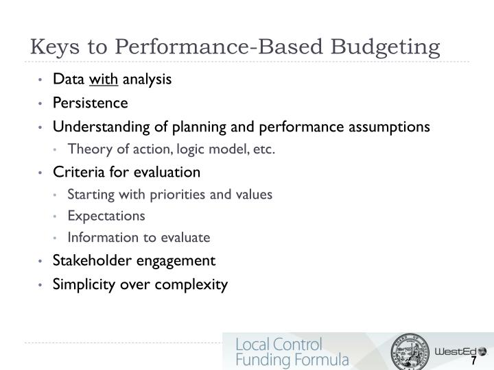 Keys to Performance-Based Budgeting