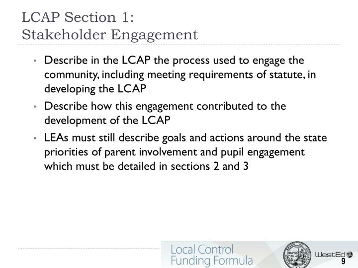 LCAP Section 1: