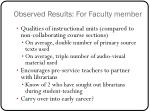 observed results for faculty member