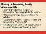 history of promoting family accountability