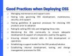good practices when d eploying oss