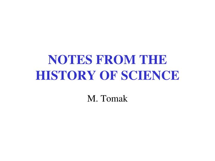 notes from the history of science n.