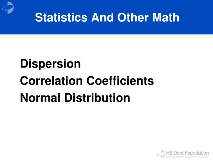 Statistics And Other Math