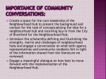 importance of community conversations