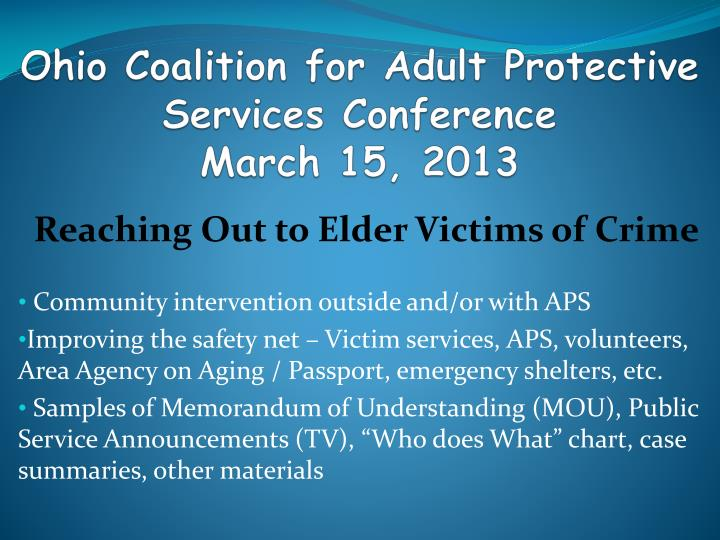 ohio coalition for adult protective services conference march 15 2013 n.