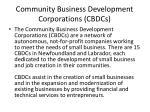 community business development corporations cbdcs