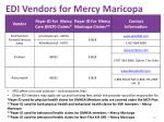 edi vendors for mercy maricopa