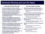 continuity planning and lean six sigma