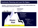 continuity planning and lean six sigma1