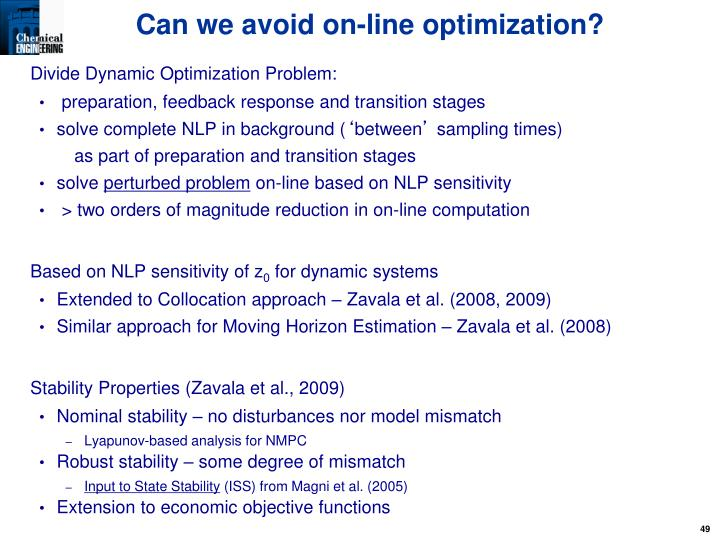 Can we avoid on-line optimization?