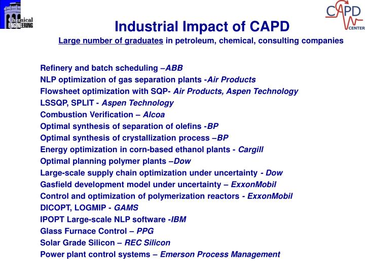 Industrial Impact of CAPD