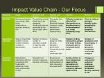 impact value chain our focus