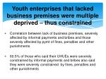youth enterprises that lacked business premises were multiple deprived thus constrained