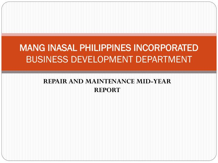 mang inasal philippines incorporated business development department n.