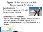 types of assistance the hr department provides2