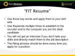 fit resume