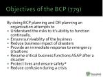 objectives of the bcp 779