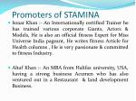promoters of stamina