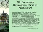 nih consensus development panel on acupuncture