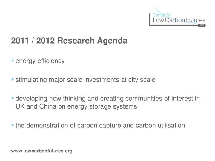2011 / 2012 Research Agenda