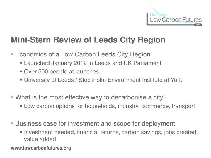 Mini-Stern Review of Leeds City Region