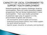 capacity of local government to support youth employment3