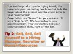 tip 2 sell sell sell yourself to a hiring manager recruiter or human resources