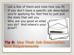 tip 8 use their job description and requirements