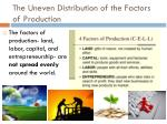 the uneven distribution of the factors of production