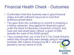 financial health check outcomes