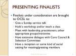 presenting finalists