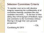 selection committee criteria