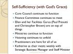 self sufficiency with god s grace
