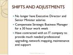 shifts and adjustments