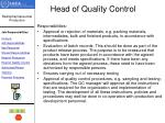 head of quality control