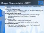 unique characteristics of cbt