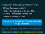 implication of mega corridors in india