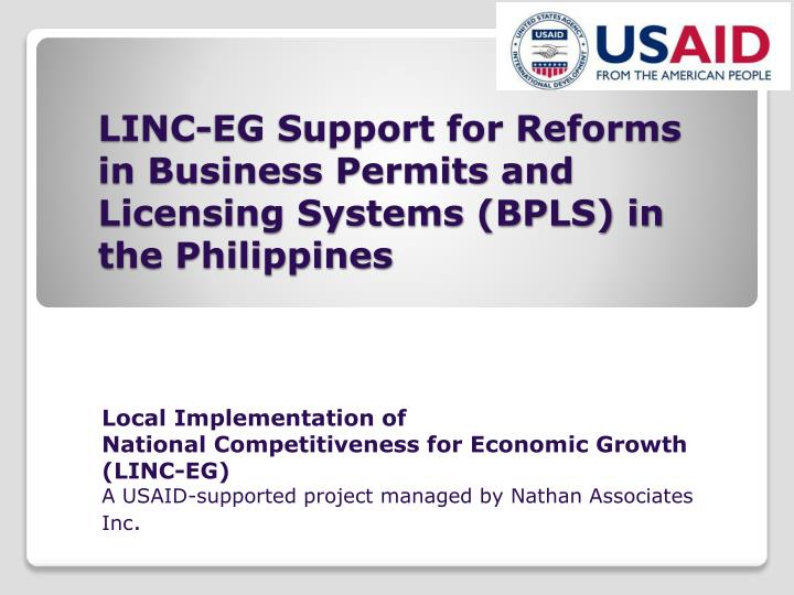 linc eg support for reforms in business permits and licensing systems bpls in the philippines n.