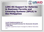 linc eg support for reforms in business permits and licensing systems bpls in the philippines
