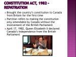 constitution act 1982 repatriation