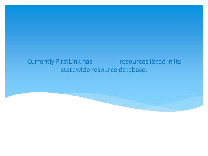 Currently FirstLink has _______ resources listed in its statewide resource database.