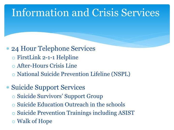 Information and Crisis Services