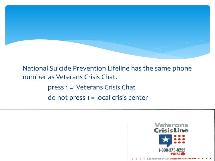 National Suicide Prevention Lifeline has the same
