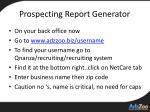prospecting report generator