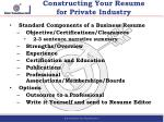 constructing your resume for private industry