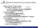 drivers timing factors for corporate hiring