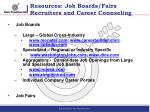 resources job boards fairs recruiters and career counseling