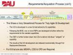 requirements acquisition process con t